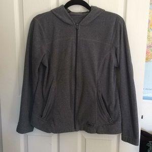 REI polyester grey zip up jacket with hood medium